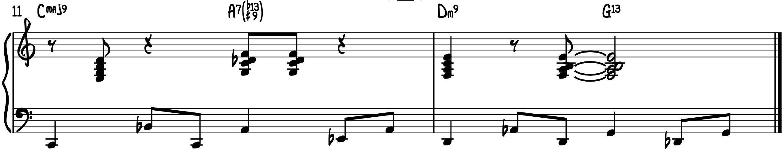 Walking Bass Line jazz piano turnaround 1-6-2-5 left hand groove chromatic upper neighbor